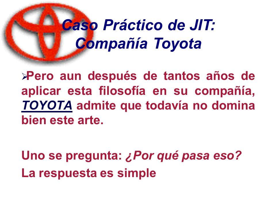 Caso Práctico de JIT: Compañía Toyota Pero aun después de tantos años de aplicar esta filosofía en su compañía, TOYOTA admite que todavía no domina bi