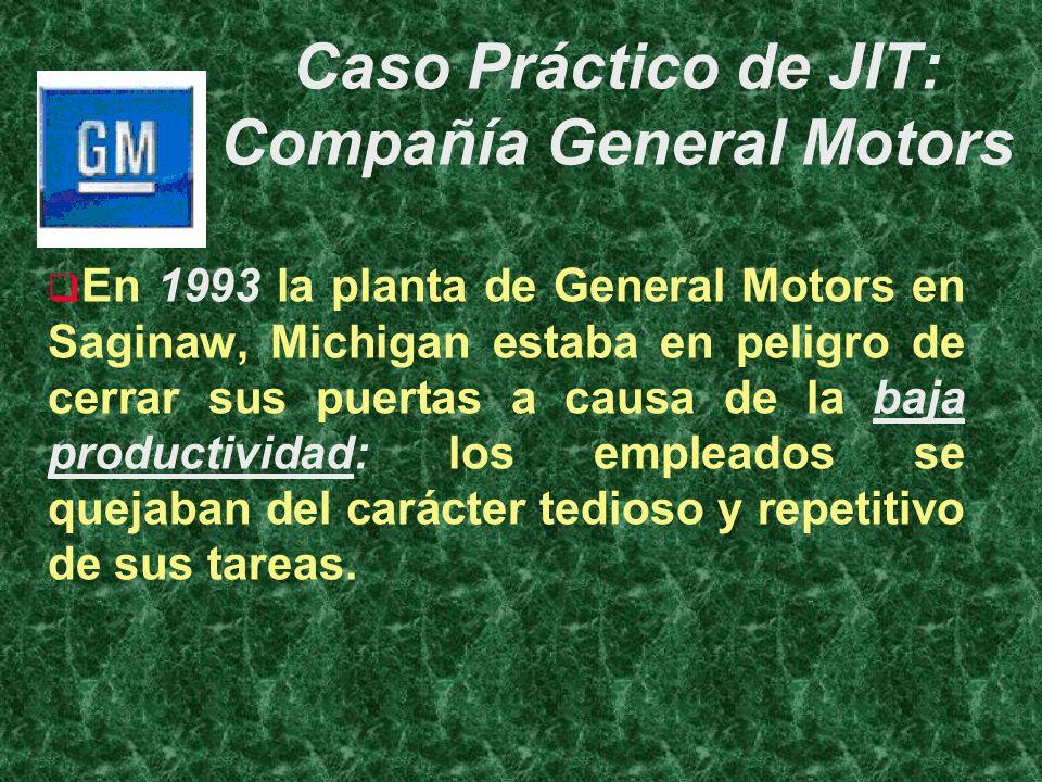 Caso Práctico de JIT: Compañía General Motors En 1993 la planta de General Motors en Saginaw, Michigan estaba en peligro de cerrar sus puertas a causa