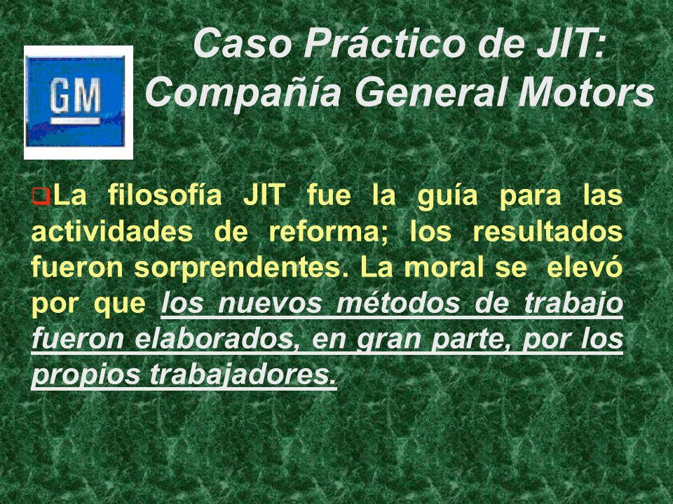 La filosofía JIT fue la guía para las actividades de reforma; los resultados fueron sorprendentes. La moral se elevó por que los nuevos métodos de tra