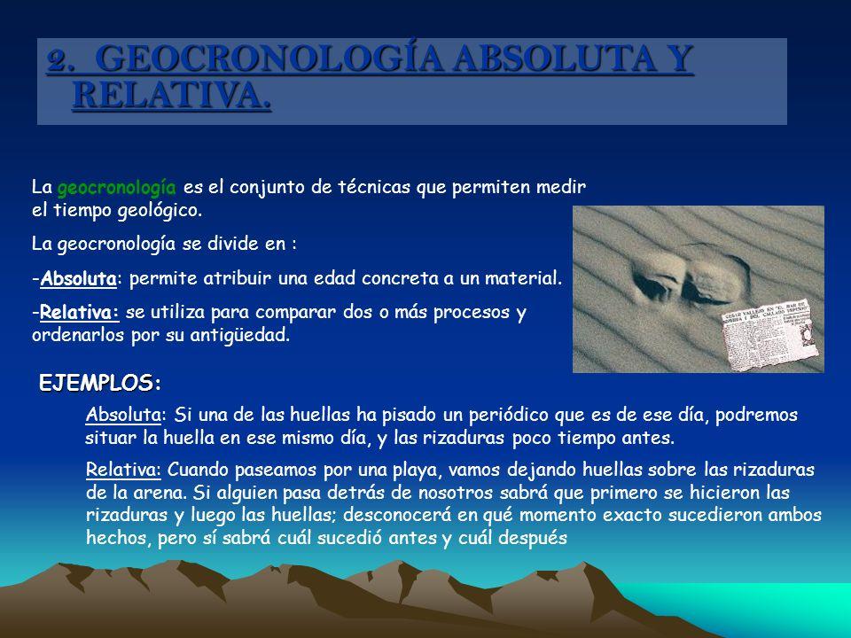 2. GEOCRONOLOGÍA ABSOLUTA Y RELATIVA. La geocronología es el conjunto de técnicas que permiten medir el tiempo geológico. La geocronología se divide e