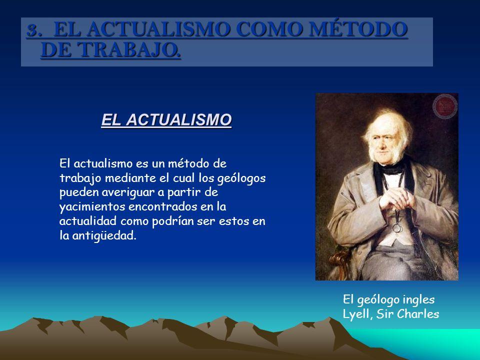 EL ACTUALISMO El actualismo es un método de trabajo mediante el cual los geólogos pueden averiguar a partir de yacimientos encontrados en la actualida