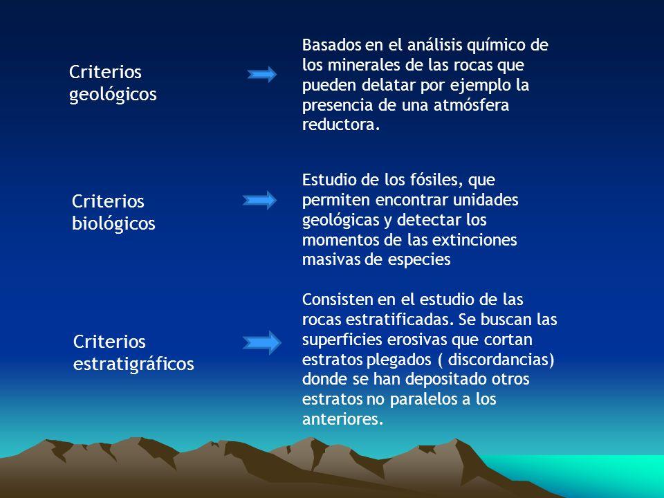 Criterios geológicos Basados en el análisis químico de los minerales de las rocas que pueden delatar por ejemplo la presencia de una atmósfera reducto
