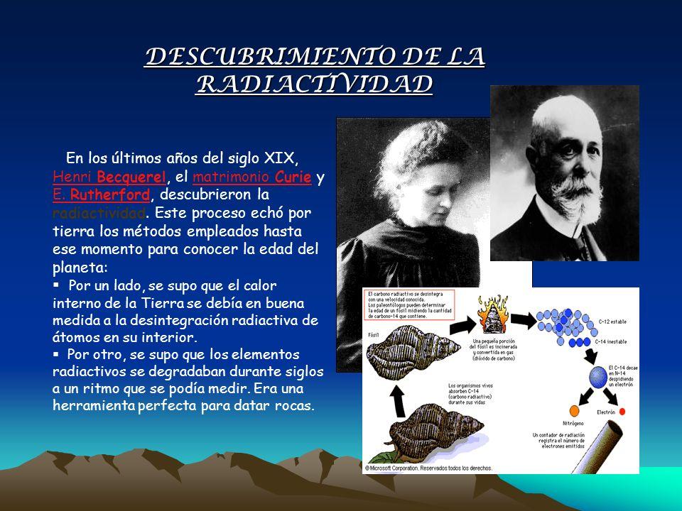 En los últimos años del siglo XIX, Henri Becquerel, el matrimonio Curie y E. Rutherford, descubrieron la radiactividad. Este proceso echó por tierra l