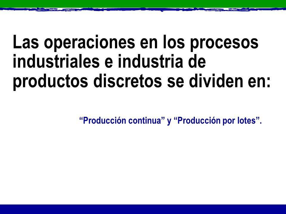 Producción continua y Producción por lotes. Las operaciones en los procesos industriales e industria de productos discretos se dividen en: