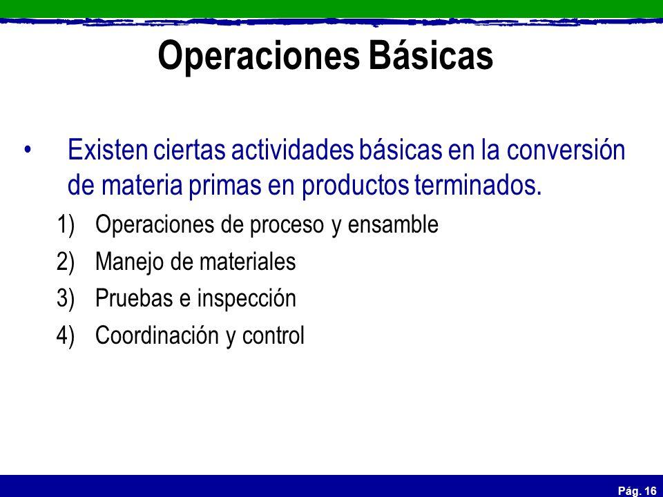 Pág. 16 Operaciones Básicas Existen ciertas actividades básicas en la conversión de materia primas en productos terminados. 1)Operaciones de proceso y