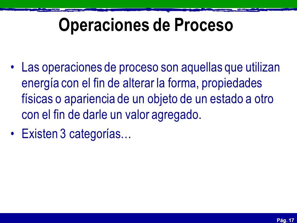 Pág. 17 Operaciones de Proceso Las operaciones de proceso son aquellas que utilizan energía con el fin de alterar la forma, propiedades físicas o apar