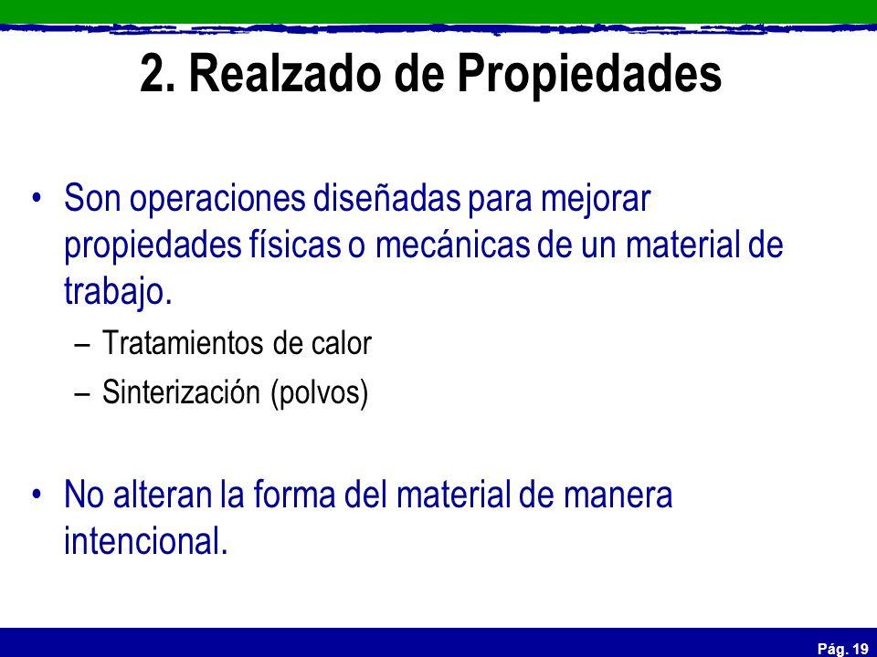 Pág. 19 2. Realzado de Propiedades Son operaciones diseñadas para mejorar propiedades físicas o mecánicas de un material de trabajo. –Tratamientos de