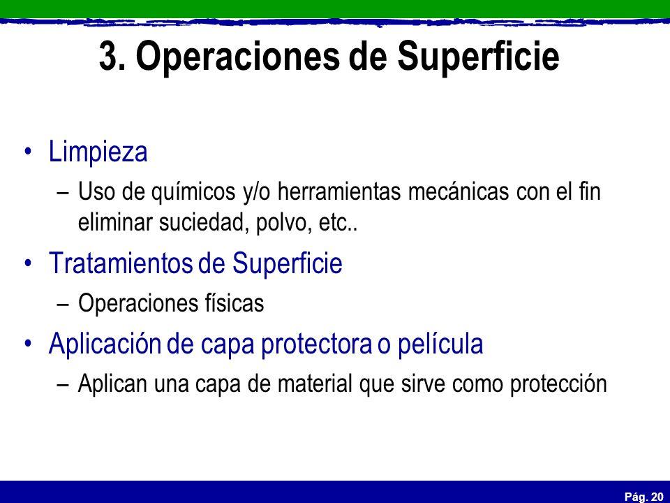 Pág. 20 3. Operaciones de Superficie Limpieza –Uso de químicos y/o herramientas mecánicas con el fin eliminar suciedad, polvo, etc.. Tratamientos de S
