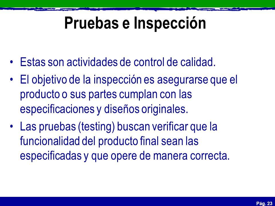 Pág. 23 Pruebas e Inspección Estas son actividades de control de calidad. El objetivo de la inspección es asegurarse que el producto o sus partes cump