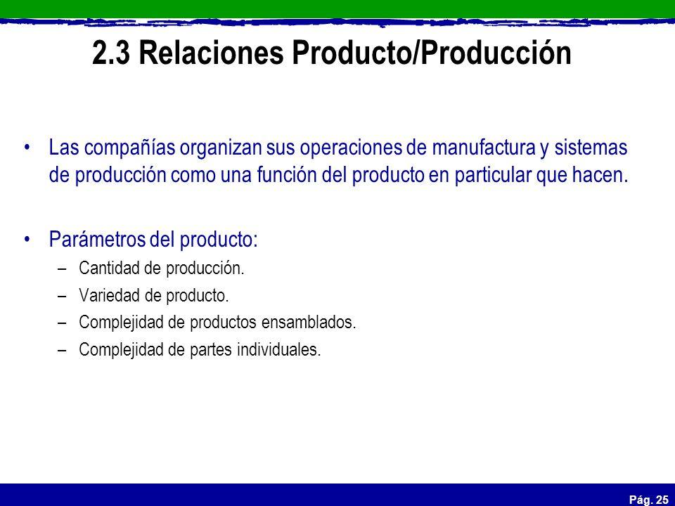 Pág. 25 2.3 Relaciones Producto/Producción Las compañías organizan sus operaciones de manufactura y sistemas de producción como una función del produc