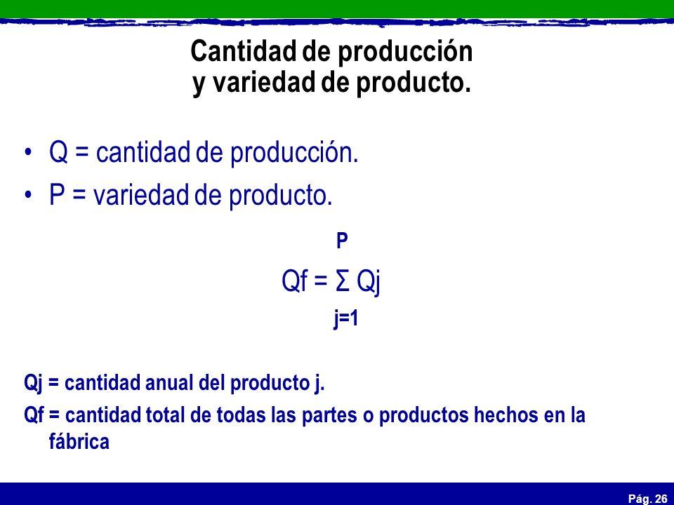 Pág. 26 Cantidad de producción y variedad de producto. Q = cantidad de producción. P = variedad de producto. P Qf = Σ Qj j=1 Qj = cantidad anual del p