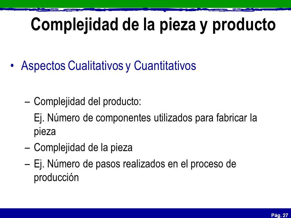 Pág. 27 Complejidad de la pieza y producto Aspectos Cualitativos y Cuantitativos –Complejidad del producto: Ej. Número de componentes utilizados para