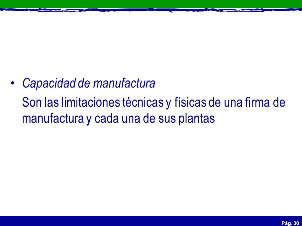 Pág. 30 Capacidad de manufactura Son las limitaciones técnicas y físicas de una firma de manufactura y cada una de sus plantas