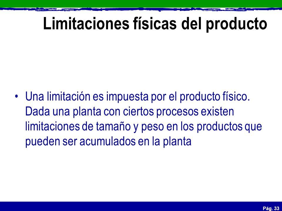 Pág. 33 Limitaciones físicas del producto Una limitación es impuesta por el producto físico. Dada una planta con ciertos procesos existen limitaciones