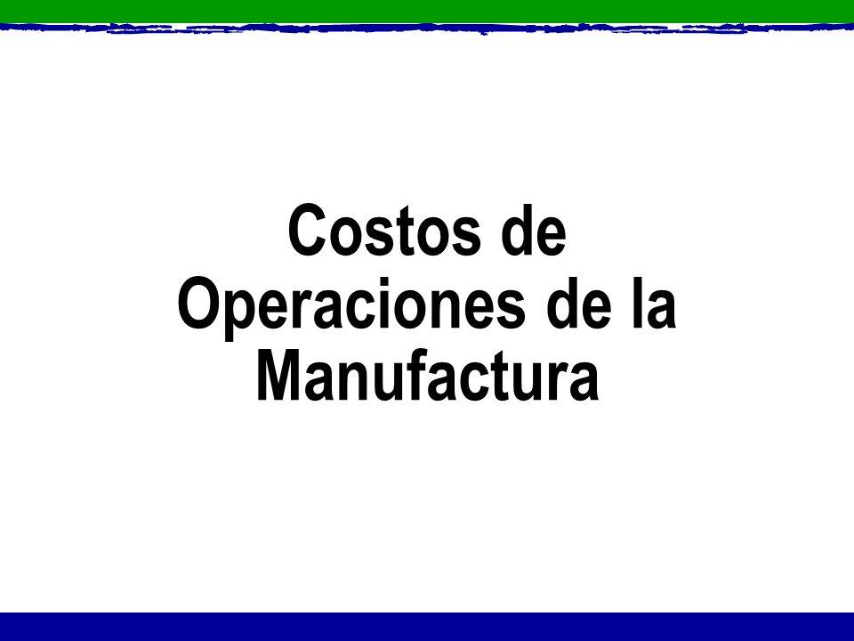 Costos de Operaciones de la Manufactura