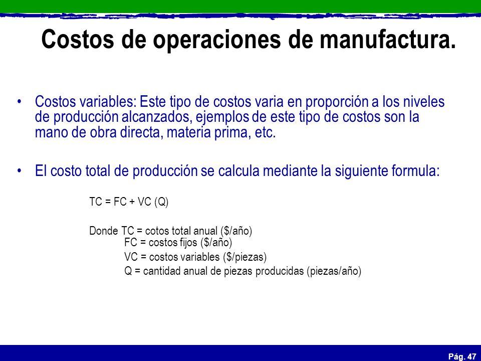 Pág. 47 Costos de operaciones de manufactura. Costos variables: Este tipo de costos varia en proporción a los niveles de producción alcanzados, ejempl