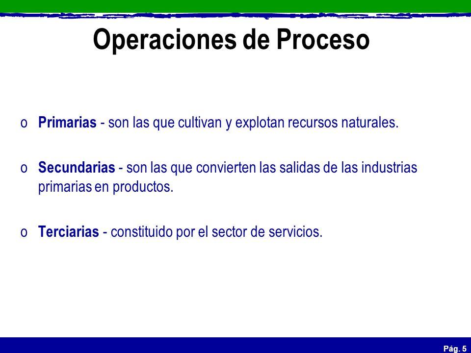 Pág. 5 Operaciones de Proceso o Primarias - son las que cultivan y explotan recursos naturales. o Secundarias - son las que convierten las salidas de