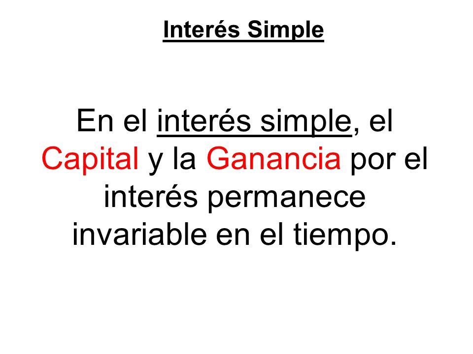 Interés Simple En el interés simple, el Capital y la Ganancia por el interés permanece invariable en el tiempo.