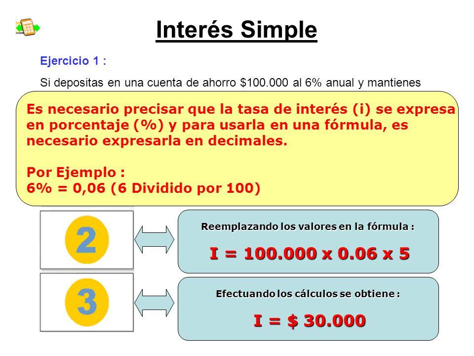 Interés Simple Ejercicio 1 : Si depositas en una cuenta de ahorro $100.000 al 6% anual y mantienes este ahorro durantes 5 años... ¿ Cuánto interés rec