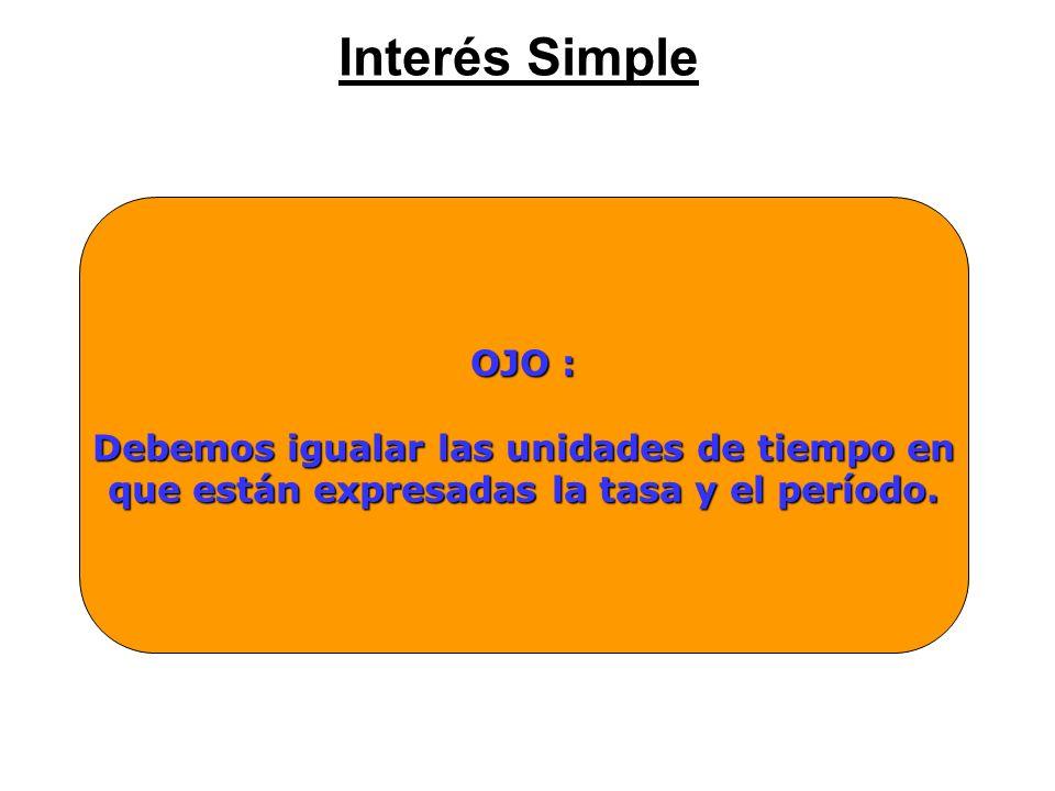 Interés Simple OJO : Debemos igualar las unidades de tiempo en que están expresadas la tasa y el período.