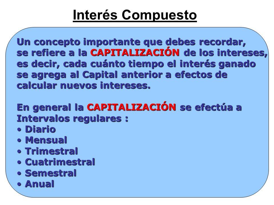 Interés Compuesto Un concepto importante que debes recordar, se refiere a la CAPITALIZACIÓN de los intereses, es decir, cada cuánto tiempo el interés