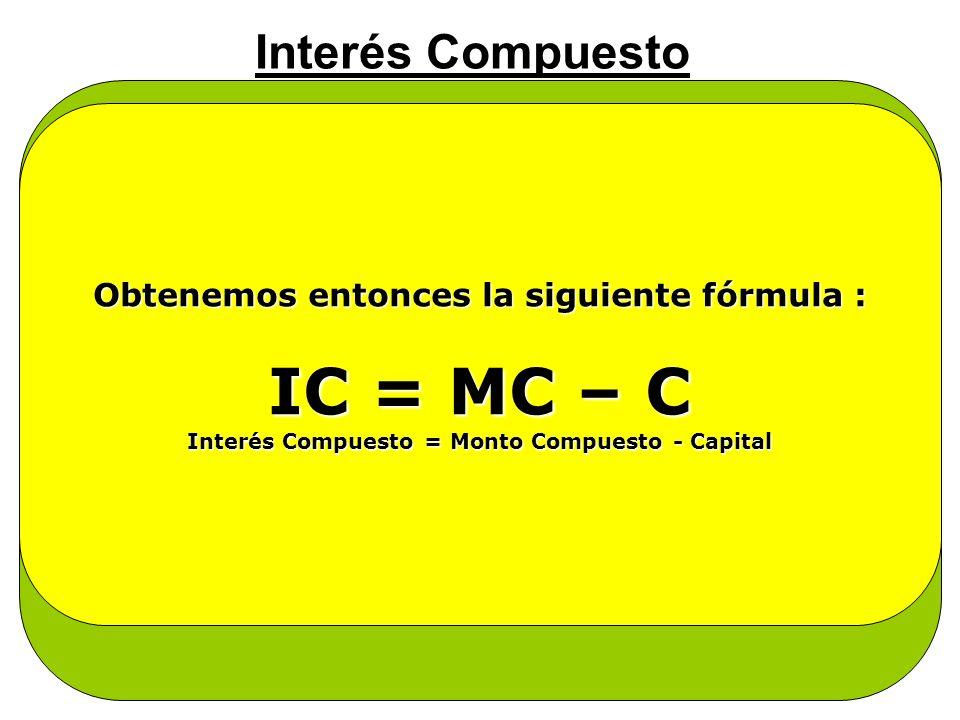 Interés Compuesto Se dice entonces : que el interés es CAPITALIZABLE, o convertible en capital, en consecuencia, también gana interés El interés aumen