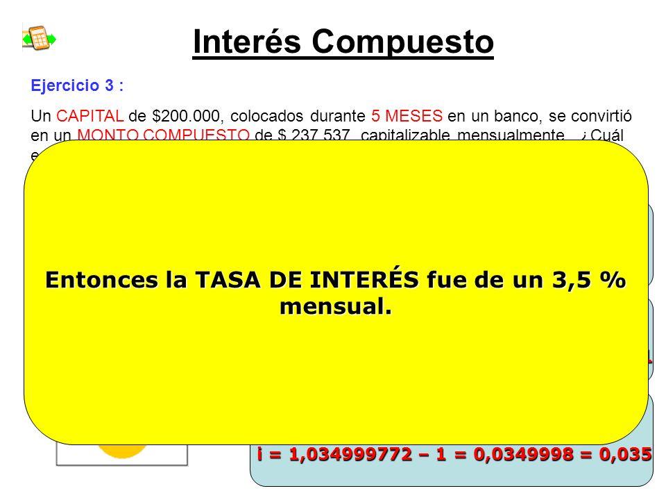 Interés Compuesto Ejercicio 3 : Un CAPITAL de $200.000, colocados durante 5 MESES en un banco, se convirtió en un MONTO COMPUESTO de $ 237.537, capita