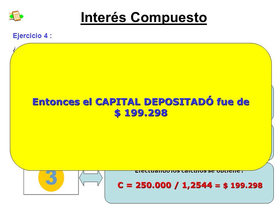 Interés Compuesto Ejercicio 4 : ¿ Cuánto CAPITAL depositó una persona, a una TASA DE INTERÉS del 12% anual, si al cabo de 2 AÑOS tiene un MONTO COMPUE