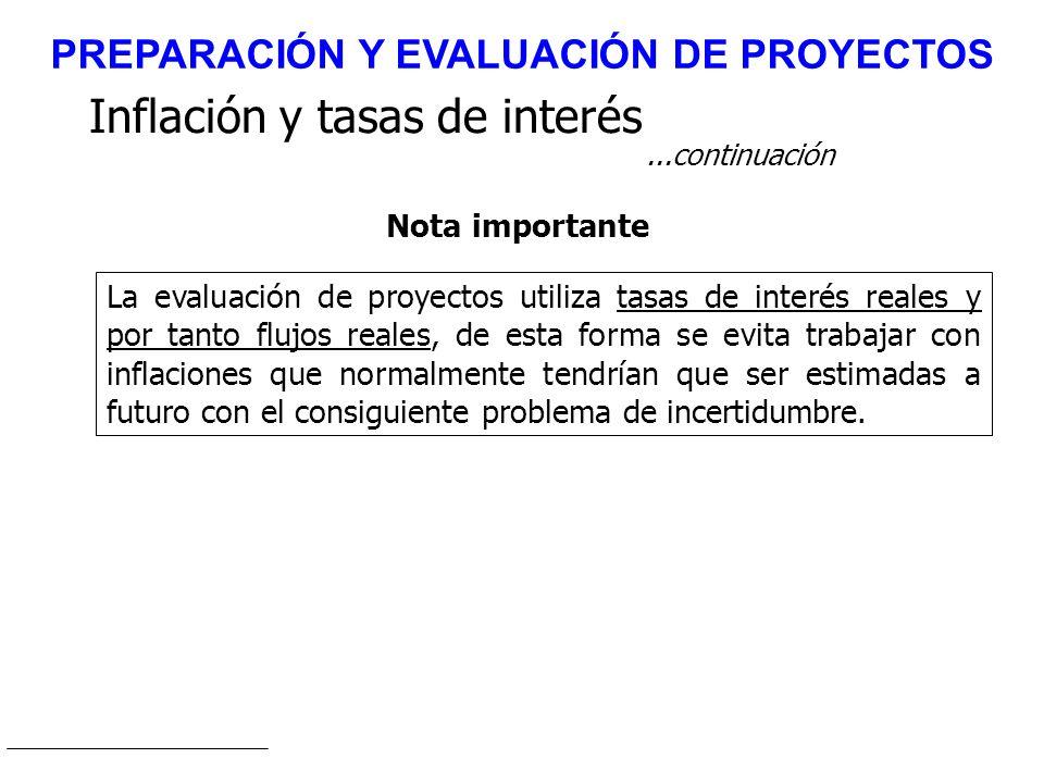 Inflación y tasas de interés...continuación La evaluación de proyectos utiliza tasas de interés reales y por tanto flujos reales, de esta forma se evi