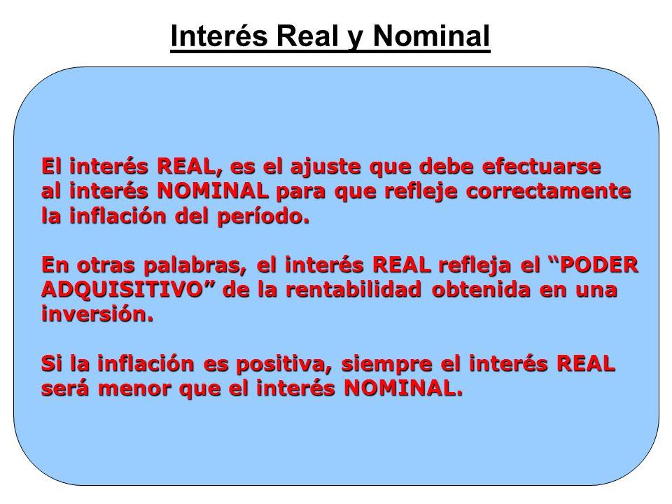 Interés Real y Nominal El interés REAL, es el ajuste que debe efectuarse al interés NOMINAL para que refleje correctamente la inflación del período. E