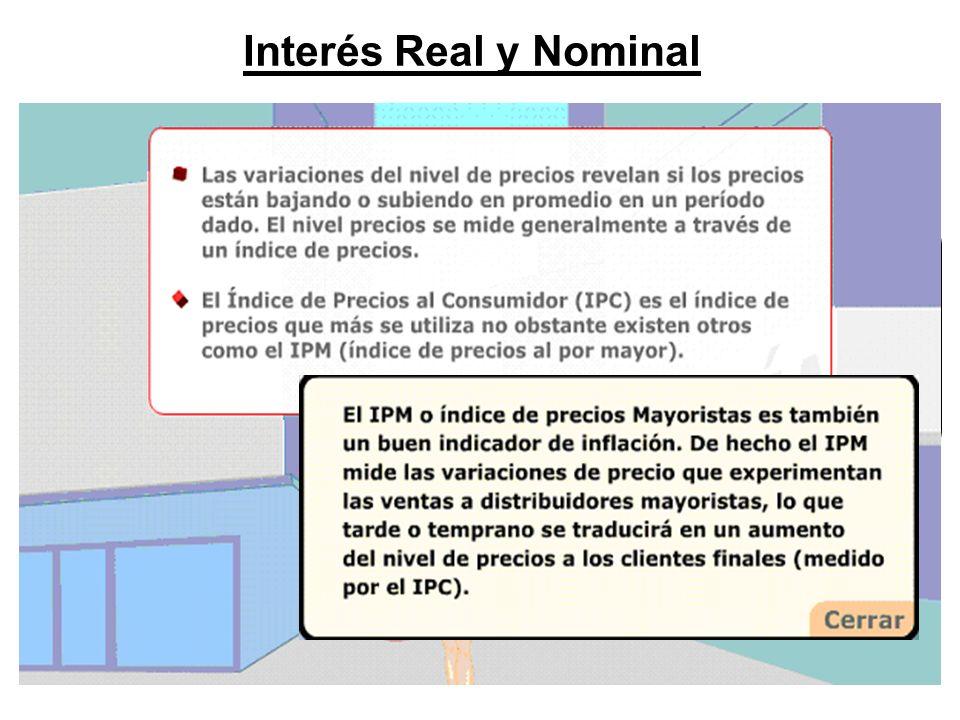 Interés Real y Nominal El impacto de la inflación se puede estimar. Ello es necesario, para muchas decisiones financieras donde lo que realmente impor