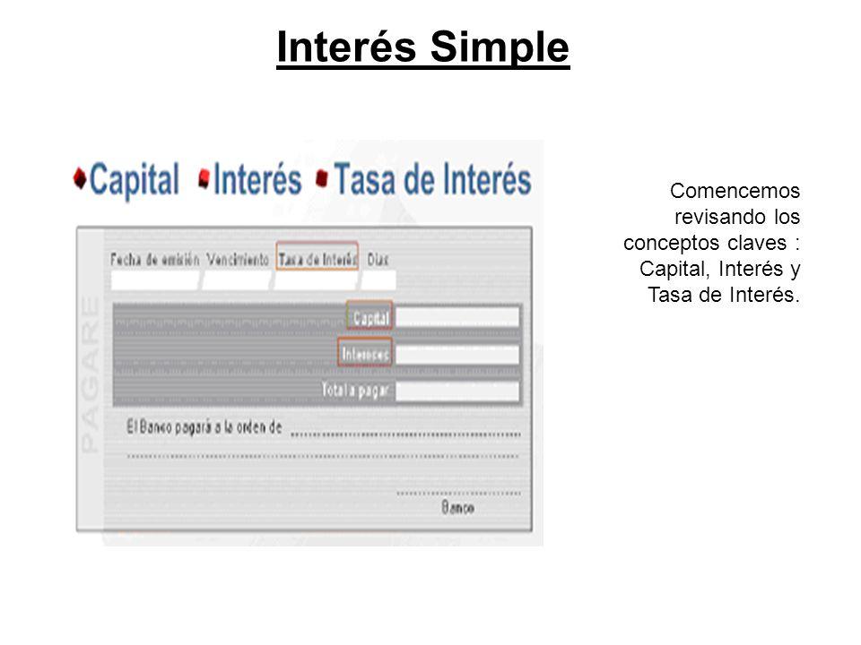 Interés Simple En el ejemplo anterior, notaste que el interés simple era de $800.