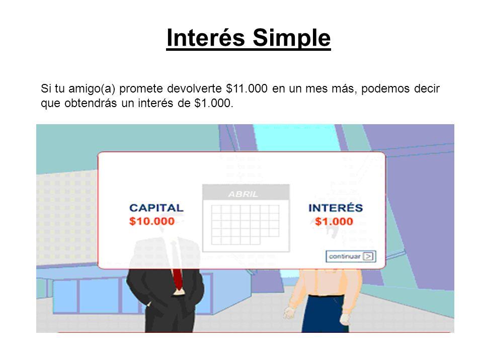 Interés Simple Si tu amigo(a) promete devolverte $11.000 en un mes más, podemos decir que obtendrás un interés de $1.000.