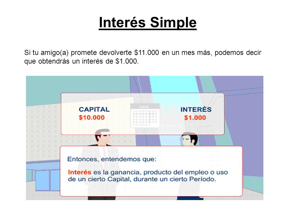 Interés Simple A modo de práctica, resolvamos los siguientes ejercicios : ¿ Qué capital colocado al 24% anual producirá al cabo de 6 meses $ 24.000 de Interés .