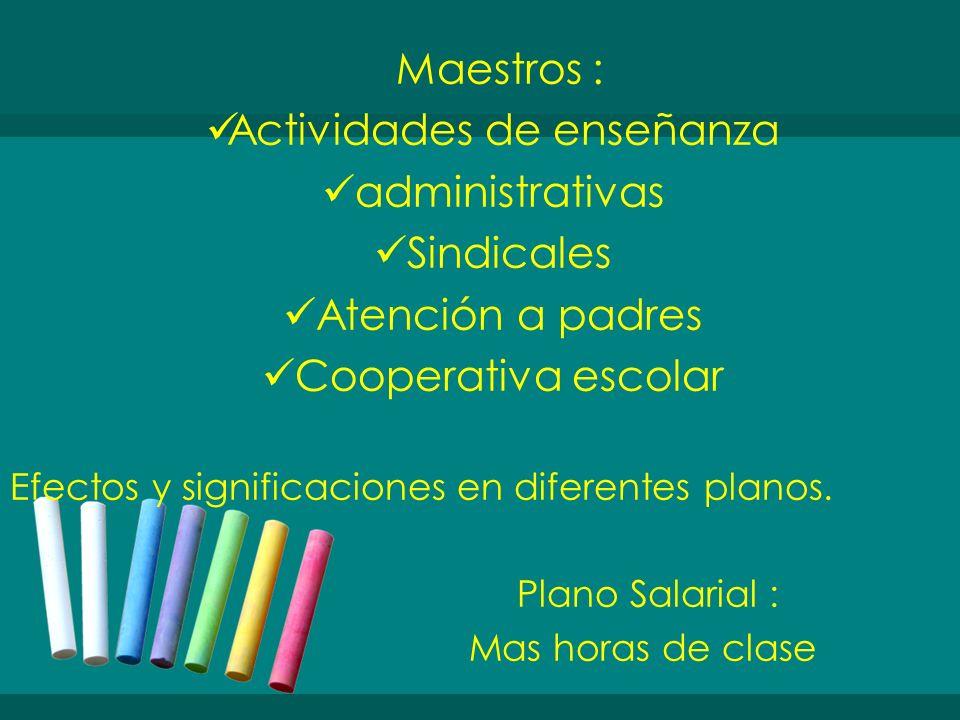 Maestros : Actividades de enseñanza administrativas Sindicales Atención a padres Cooperativa escolar Efectos y significaciones en diferentes planos. P