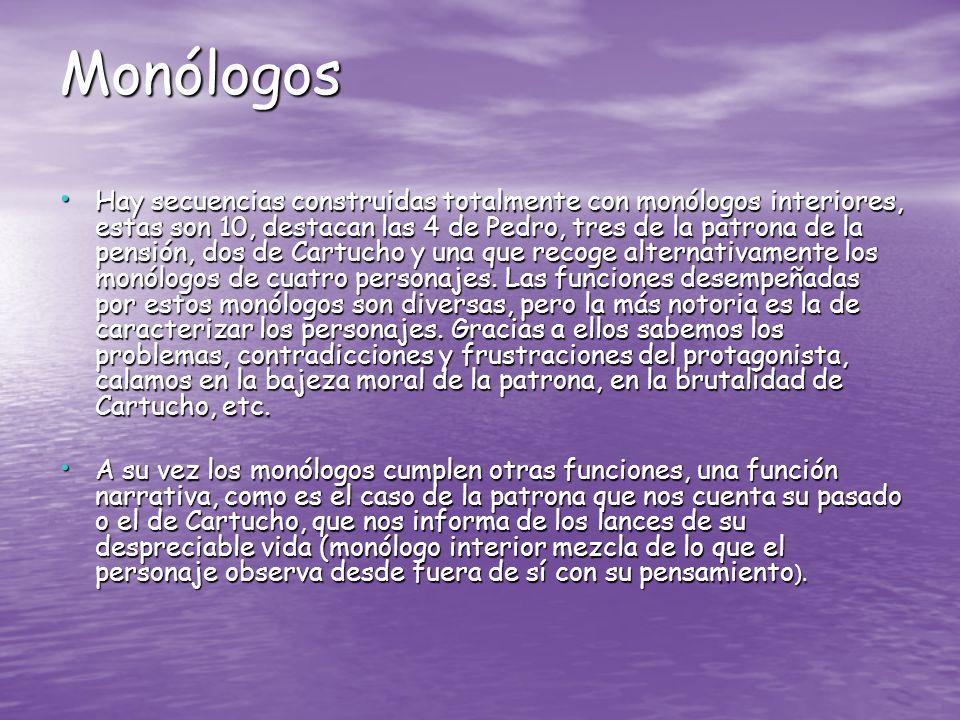 Monólogos Hay secuencias construidas totalmente con monólogos interiores, estas son 10, destacan las 4 de Pedro, tres de la patrona de la pensión, dos