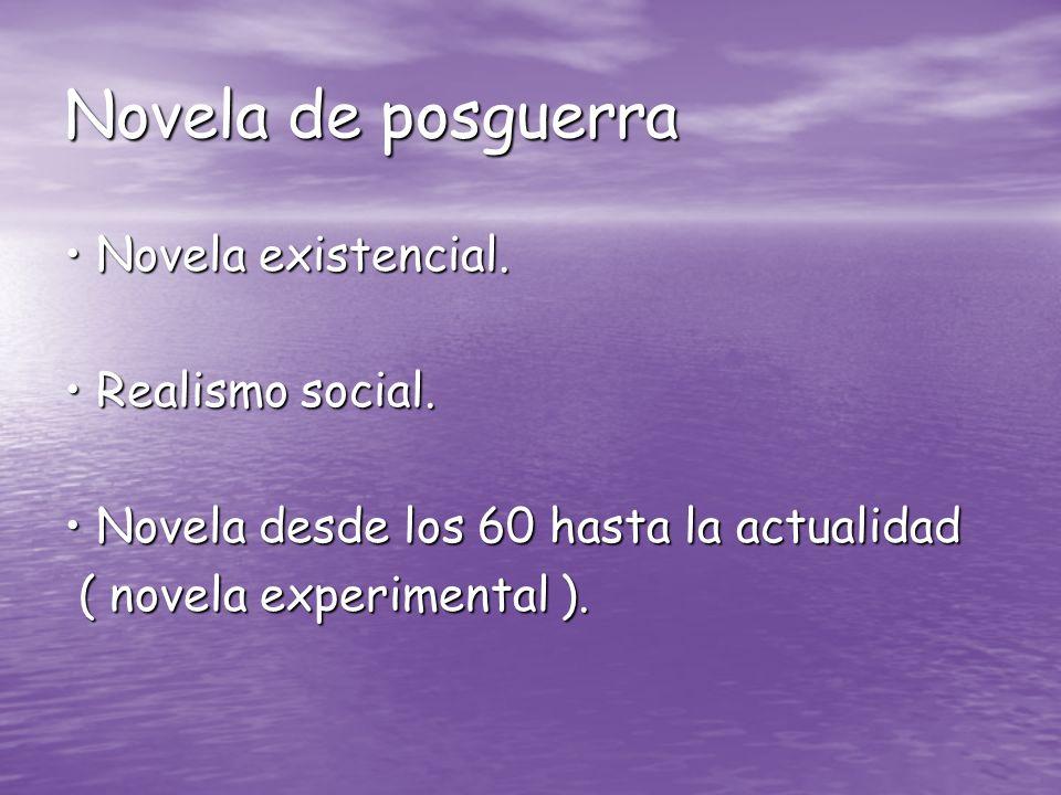 Novela de posguerra Novela existencial. Novela existencial. Realismo social. Realismo social. Novela desde los 60 hasta la actualidad Novela desde los
