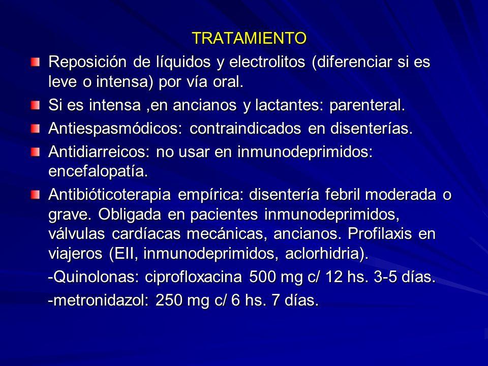 TRATAMIENTO TRATAMIENTO Reposición de líquidos y electrolitos (diferenciar si es leve o intensa) por vía oral. Si es intensa,en ancianos y lactantes: