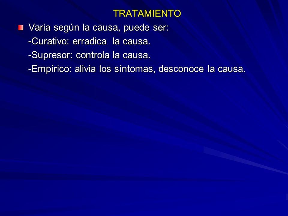 TRATAMIENTO TRATAMIENTO Varia según la causa, puede ser: -Curativo: erradica la causa.