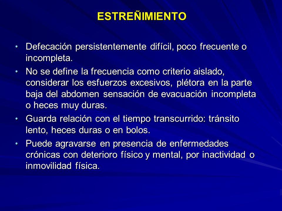 ESTREÑIMIENTO ESTREÑIMIENTO Defecación persistentemente difícil, poco frecuente o incompleta. Defecación persistentemente difícil, poco frecuente o in