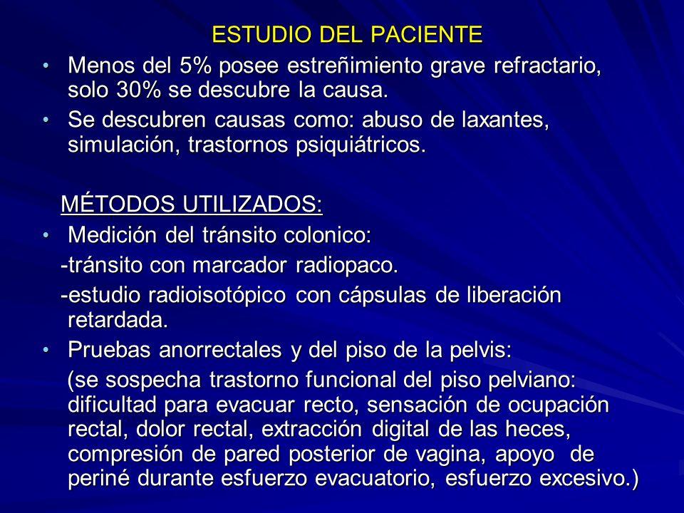 ESTUDIO DEL PACIENTE ESTUDIO DEL PACIENTE Menos del 5% posee estreñimiento grave refractario, solo 30% se descubre la causa.