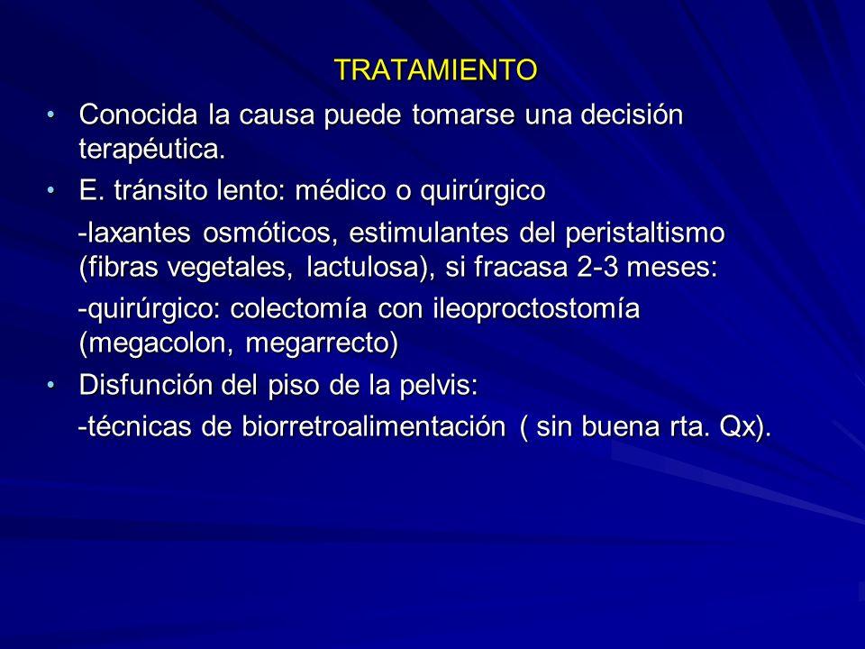 TRATAMIENTO TRATAMIENTO Conocida la causa puede tomarse una decisión terapéutica.