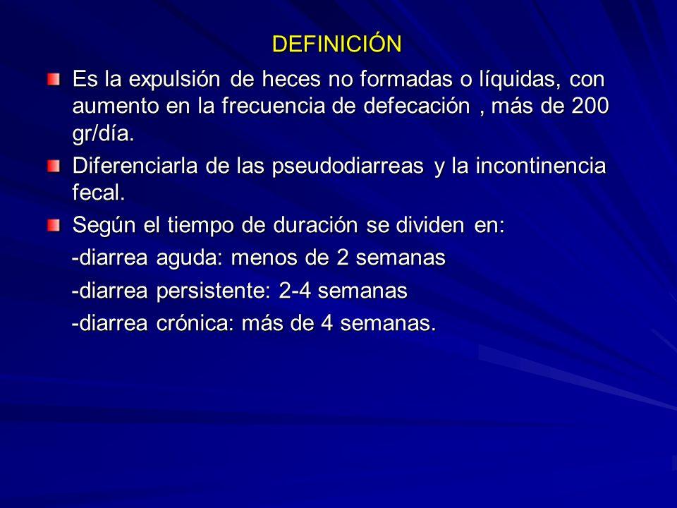 DEFINICIÓN DEFINICIÓN Es la expulsión de heces no formadas o líquidas, con aumento en la frecuencia de defecación, más de 200 gr/día. Diferenciarla de