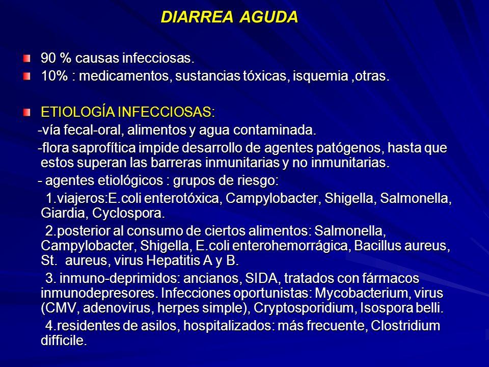 DIARREA AGUDA DIARREA AGUDA 90 % causas infecciosas. 10% : medicamentos, sustancias tóxicas, isquemia,otras. ETIOLOGÍA INFECCIOSAS: -vía fecal-oral, a