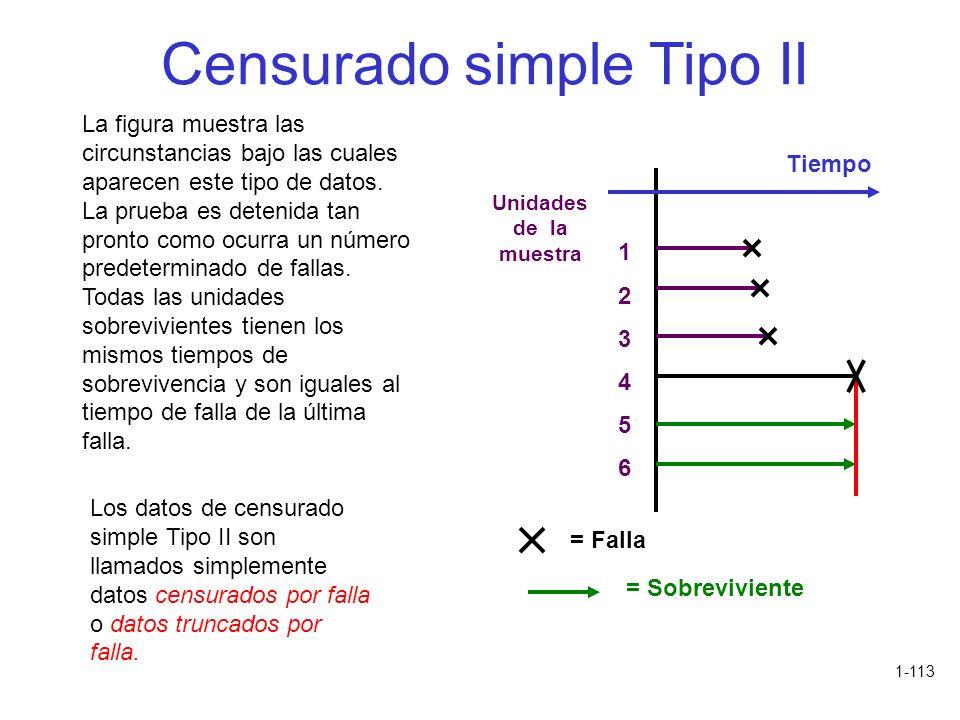 1-113 Censurado simple Tipo II La figura muestra las circunstancias bajo las cuales aparecen este tipo de datos. La prueba es detenida tan pronto como