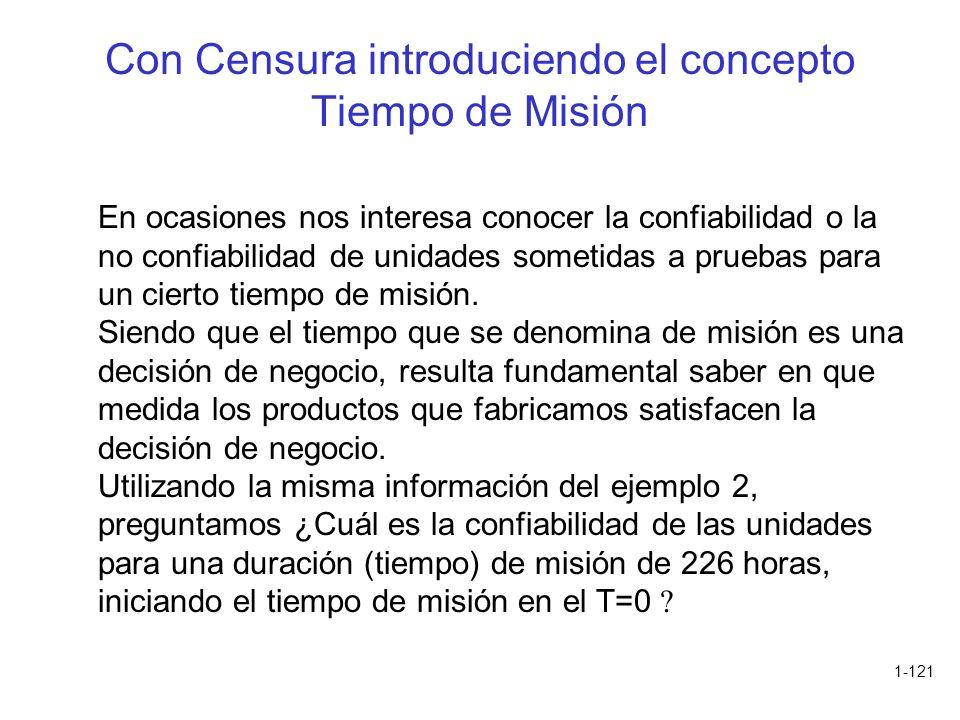 1-121 Con Censura introduciendo el concepto Tiempo de Misión En ocasiones nos interesa conocer la confiabilidad o la no confiabilidad de unidades some