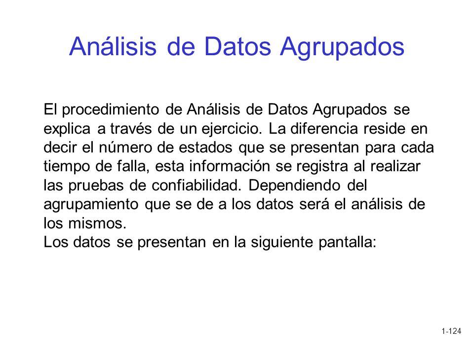 1-124 Análisis de Datos Agrupados El procedimiento de Análisis de Datos Agrupados se explica a través de un ejercicio. La diferencia reside en decir e