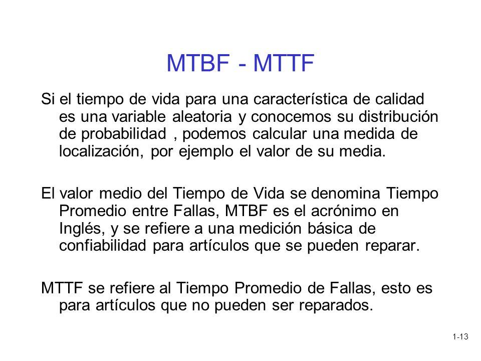 1-13 MTBF - MTTF Si el tiempo de vida para una característica de calidad es una variable aleatoria y conocemos su distribución de probabilidad, podemo