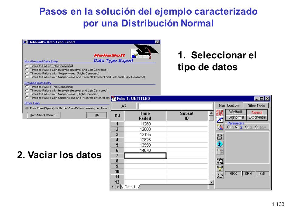 1-133 Pasos en la solución del ejemplo caracterizado por una Distribución Normal 1. Seleccionar el tipo de datos 2. Vaciar los datos