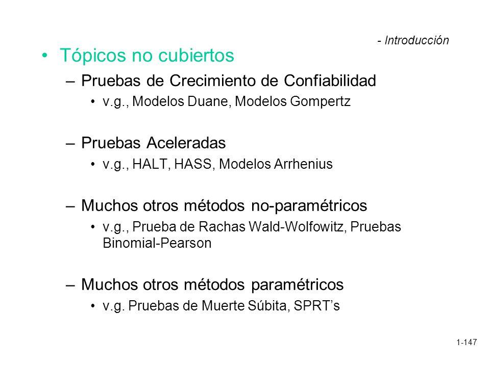 1-147 Tópicos no cubiertos –Pruebas de Crecimiento de Confiabilidad v.g., Modelos Duane, Modelos Gompertz –Pruebas Aceleradas v.g., HALT, HASS, Modelo